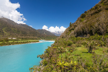 Whataroa River - magnificent turquoise color. West Coast, South
