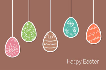 Hanging Easter eggs with ornaments in paper cutout style