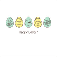 Easter eggs with ornaments in doodle style