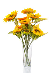 Composition from sunflowers in glass vase isolated on white back