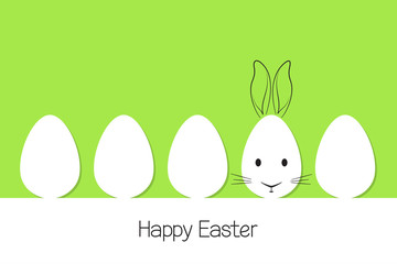 Eggs in paper cutout style with doodle Easter rabbit