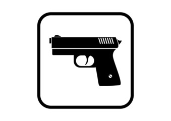 Gun vector icon on white background