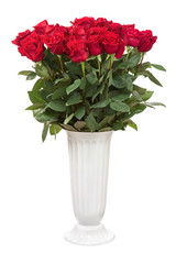 Bouquet from red roses in vase isolated on white background.