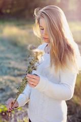 Seasonal portrait of a beautiful blonde woman