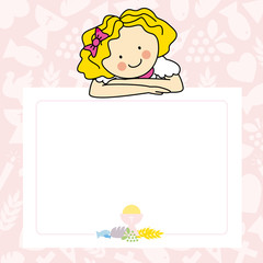 Girl First Communion card . space for text