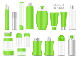 Blank green cosmetic tubes on white background