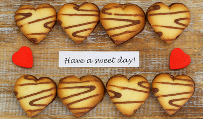 Have a sweet day card with heart shaped biscuits