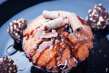 muffins with chocolate and syrup
