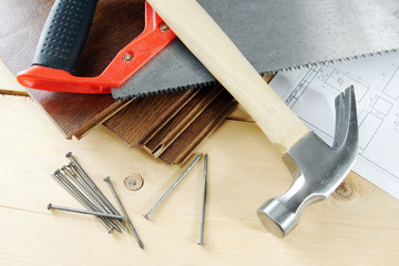 Carpenter working tools on the wooden workbench