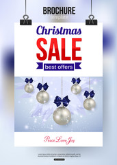Christmas sale shining typographical background with place for