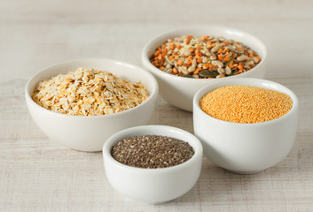 Raw organic amaranth ,chia seeds,oats and other healthy grains