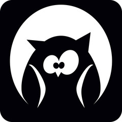 owl with big eyes in a hollow tree, symbol, vector illustration