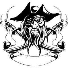 pirate hat, jolly roger, swords, ribbon, symbol, black, tattoo,
