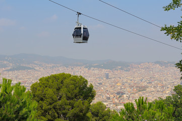 Кабинка фуникулера над Барселоной