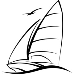 sailing, yacht racing sailing sailing over the waves, symbol, ve