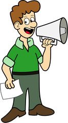 Man with green shirt using a megaphone