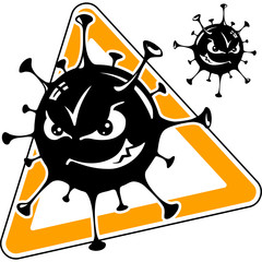 malicious computer virus, monster, cartoon, black icon, vector i