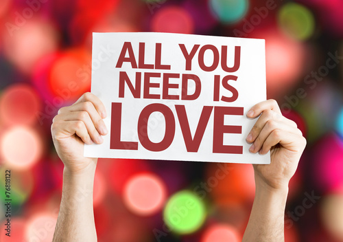 Poster All You Need is Love card with colorful background