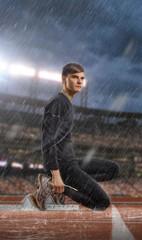 Image of sexy sportsman ready to run in rain