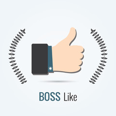 Approval Like a boss with a ribbon on a gray background