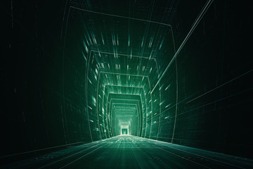 3D futuristic data tunnel
