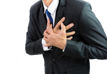 businessman having heart attack isolate