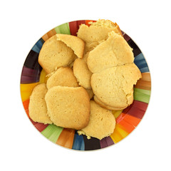 Homemade sugar cookies on a colorful dish