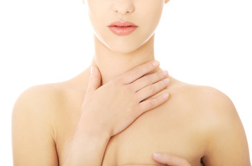 Woman with a throat pain