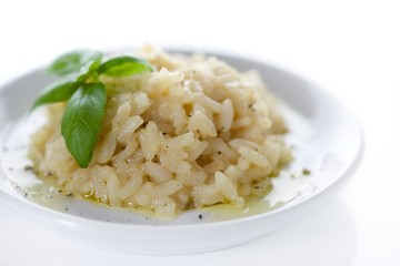 Classic Italian Risotto on White Background