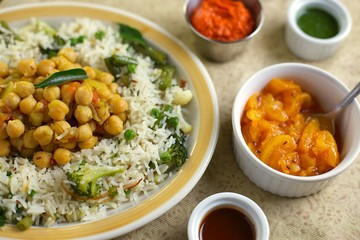 Indian Rice Pulao with Chick Peas, Broccoli and Sauces
