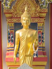 The gold buddha standing
