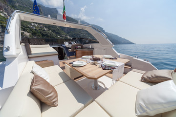 lunch on motor boat, Table setting at a luxury boat.