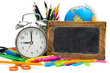 multicolored school items
