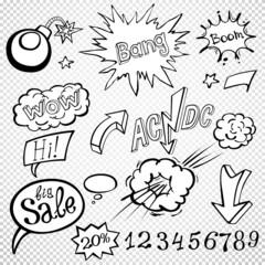 Bomb explosion comic style templates. Vector illustration