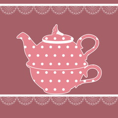 Vintage teapot in pink color with dots
