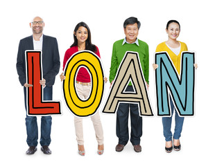Multiethnic Group of People Holding Loan Concept