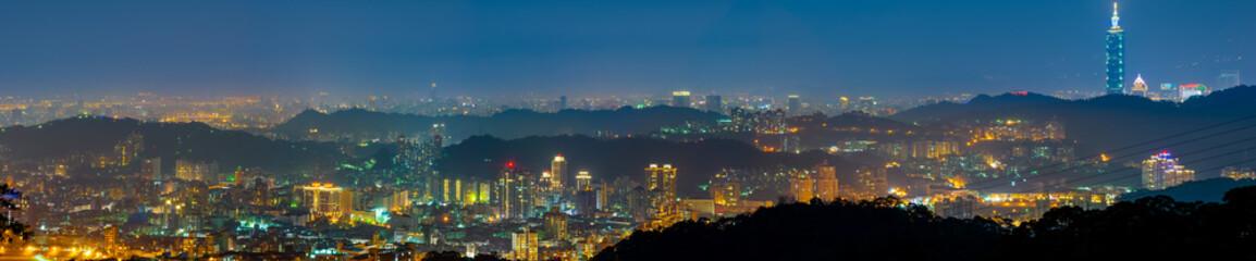 night scene of taipei city with fog and mist