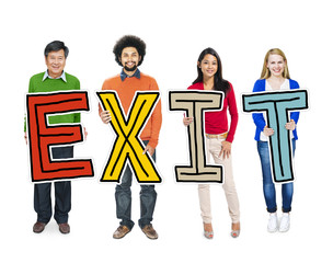 Multiethnic Group People Holding Exit Concept