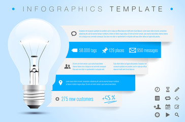 Infographics template with bulb, icons and sample text