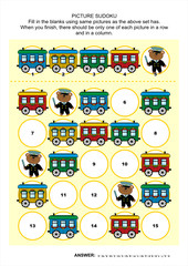 Picture sudoku puzzle with train cars and teddy bear