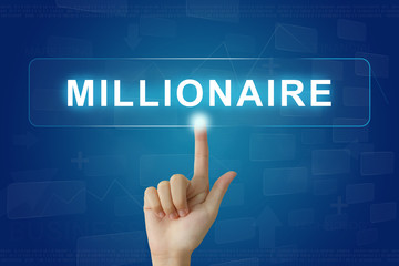 hand press on millionaire button on touch screen