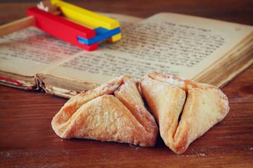 Hamantaschen cookies or hamans ears Purim celebration (jewish ho