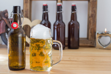 Refreshing glass tankard of frothy beer