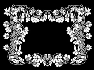 Floral frame with black in background