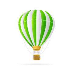 Vector white and green hot air ballon isolated
