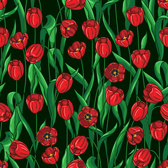 Seamless tulips pattern on black