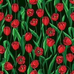 Seamless tulips pattern on black