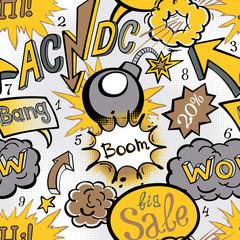 Comic book explosion pattern, vector illustration seamless