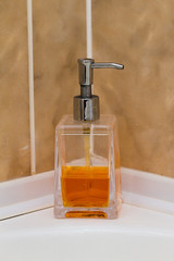 liquid soap on the white background