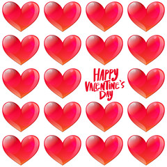 Happy Valentine's day Glossy hearts pattern